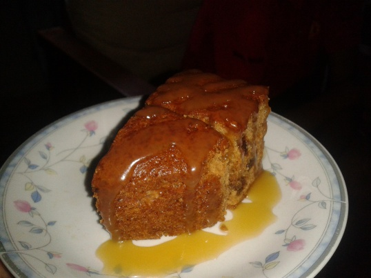 Yummy homemade Butterscotch Pudding Cake made by my uncle on New Year's Day.
